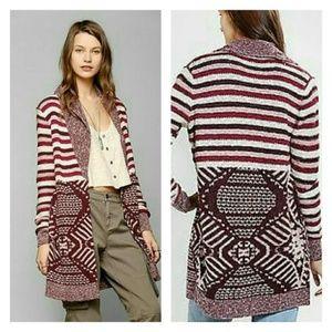 ANTHRO / ECOTE Sweater, Red Boho Open Intarsia, M